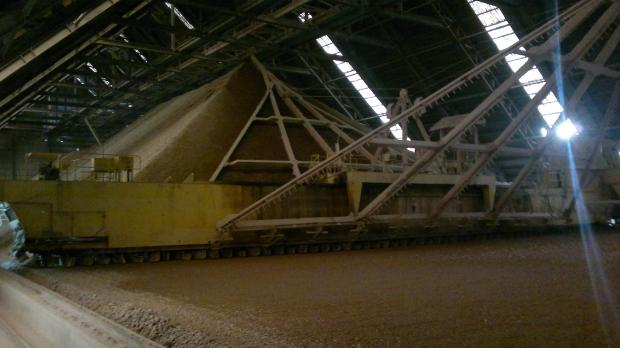 The interior of a cement plant